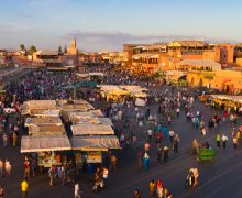 Jamaa el Fna also Jemaa el Fnaa, Djema el Fna or Djemaa el Fnaa is a square and market place in Marrakesh's medina quarter. Marrakesh, Morocco, north Africa. UNESCO Masterpiece of the Oral and Intangible Heritage of Humanity.
